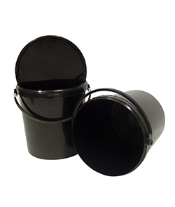 Black Plastic Pots with Lids